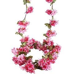 Idea Regalo - MIHOUNION 2pz 7.2 FT ghirlanda fiori finti artificiali fiori di seta Cherry Blossom ghirlanda di fiori capelli per matrimonio Casa Giardino Fiori Cesto Rosso