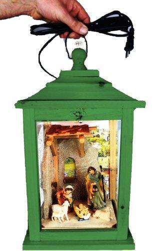 Große Weihnachtskrippe, mit Figuren, Laterne Holz, als Glasvitrine mit Beleuchtung, mit Glas und Holz - Rahmen, KL-MFOS-GRASGRÜN aus Holz No-1 grasgrün amazon grün dunkelgrün mit Lasur lasiert auf Wasserbasis