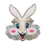 Fansi 1 Stück einfache Abziehbilder Pailletten Cartoon Kaninchen Form bestickte Applikation Handarbeit Kinder Kleidung DIY Kostüm Zubehör