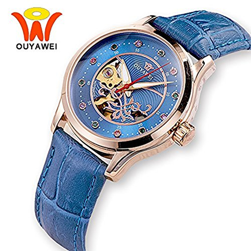 Damen Mechanische Automatik Armbanduhr Skelett Automatikuhr Uhr Herren Uhren Strass Skala Blau-Lederband Band
