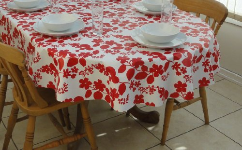 THE TABLECLOTH COMPANY 140 x 250 cm Nappe Ovale en PVC/Vinyle Motif Fleur Rouge & Blanc – 8 Places