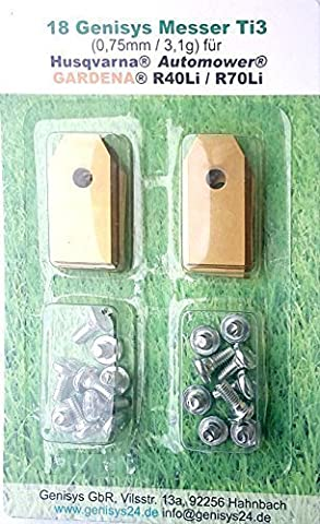 !Titan! 18 Genisys® Messer für alle Husqvarna Automower®, Gardena R40Li / R70Li (Ti1=0,45mm)