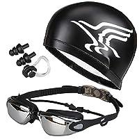 5 in 1 Swimming Goggles glasses Swim Cap Nose Clip Ear Plugs Case Black