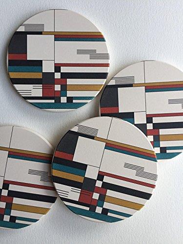 saugfähig Untersetzer, bedruckter Keramik, geometrische Untersetzer, Bauhaus Stil, modernen...