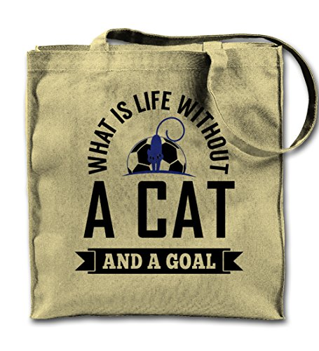 What Is Life Without Cat And A Goal Football Pet Natural Canvas Tote Bag, Cloth Shopping Shoulder Bag -
