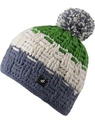 Caspar Hat - bonnet tendance tricoté avec pompon pour femmes ou également homme - fait main au Népal - 2013-14, bonnet tricoté avec polaire intérieure chapeau bobble (vert / bleu)