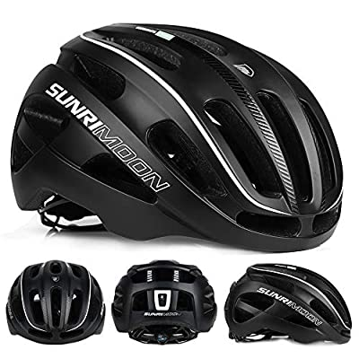 SUNRIMOON Bike Helmet Road & Mountain Cycling Helmets with LED Safety Light Adjustable Size for Adults Men/Women
