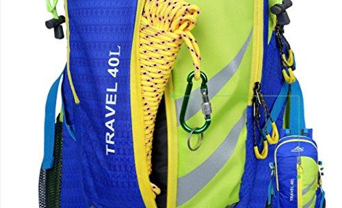 LQABW Tessuto Oxford Uomini E Donne Spalla Alpinismo Viaggi Esterna Impermeabile Zaino In Poliestere Ridotto Borsa 40L,Blue Orange