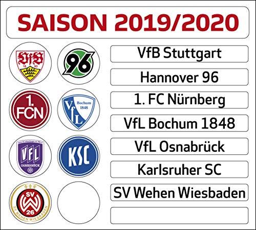 DFL Deutsche Fussball Liga 2. Bundesliga Magnettabelle - Update-Set (Saison 2019-2020)