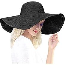 Dafunna Sombrero de paja para mujer de ala ancha Plegable Sombrero de Sol  Color sólido Playa 8ac2bbe4876