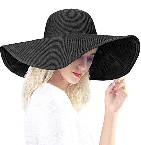 Dafunna Sombrero de Paja para Mujer de ala Ancha Pamelas Playa Plegable Sombrero de Sol Color sólido Playa Vacaciones