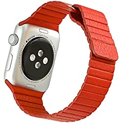 iwatch H421 Leather Strap Lychee Red