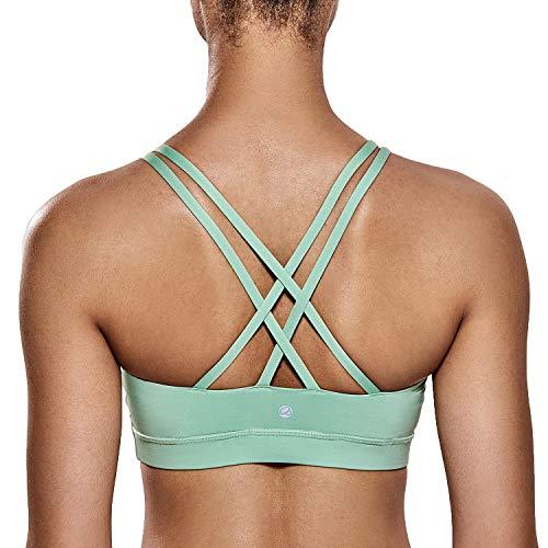 CRZ YOGA - Sujetador Deportivo Yoga Cruzados Almohadillas Extraíbles para Mujer Rosa Verdoso L