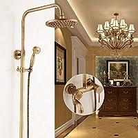 ZHGI Antico doccia stile europeo, set doccia bagno, tutti doccia rame retrò, Penglian ugello rubinetto, valvola miscelatrice,H