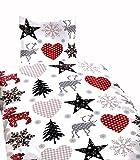 Leonado Vicenti Bettwäsche 135x200 4 teilig Fleece Winter rot grau weiß Elch herze tannen kariert Kuschel Flausch Doppelpack Sparset