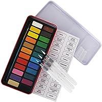 Water Paint Brush Assorted Tips 3 PCS & 24 Colors watercolour paints Pan Set