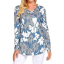 Auifor Camiseta de Manga Larga con Estampado Floral con Cuello en V Camisa de botón Blusa