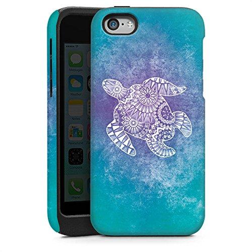 Apple iPhone SE Housse Outdoor Étui militaire Coque Mandala Turtle Tortue Motif Cas Tough brillant