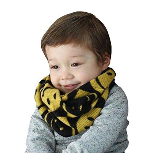 Koly 1-8 años edad niños chicos chicas sonrisa tejer bufanda (Amarillo)
