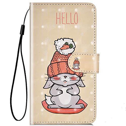 Jinghuash Kompatibel mit Galaxy A20 Hülle,Kreatives 3D Gemalt Muster PU Leder Flip Cover Brieftasche Bookstyle Ledertasche Klapphülle Kartenfächer Handyhülle-Graues Kaninchen -