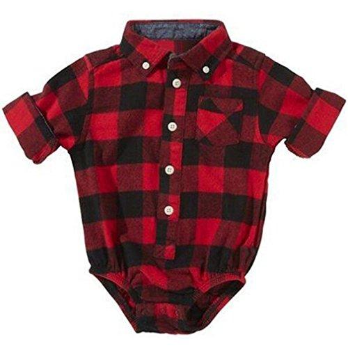 Elistelle Unisex Baby Bodysuit Langarm Hemd Kariert