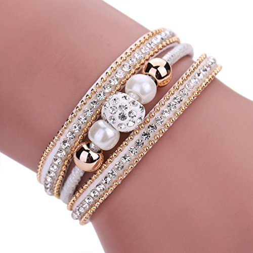 Fulltime(TM) Women Bohemian Bracelet Pearl Woven Braided Handmade Wrap Cuff Magnetic Clasp (White)