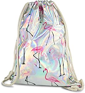 FashionCHIMP Stoffbeutel mit verschiedenen Motiven für Sport und Freizeit, Gymbag, Turnbeutel (Silber-Flamingo)