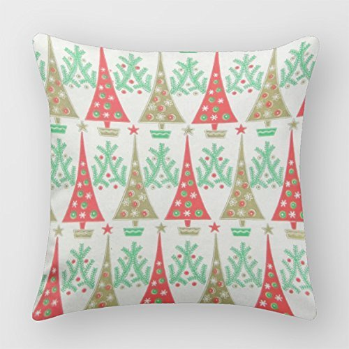 Chocol 1950S Cartoon Christmas Trees Throw Pillow Case Covers Mid Century Modern Decorative Sofa Cushions by Chocol