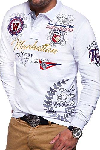 MT Styles Langarm Poloshirt MANHATTAN Polo MP-453 [Weiß, XXL]
