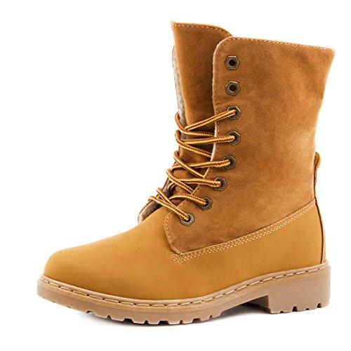 Damen Worker Boots Schnür Stiefel Stiefeletten in Lederoptik gefüttert - auch in Übergrößen Camel Paris Wild