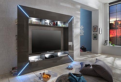 trendteam SC95121 Wohnwand TV Möbel grau Hochglanz, BxHxT 201x180x35 cm - 2