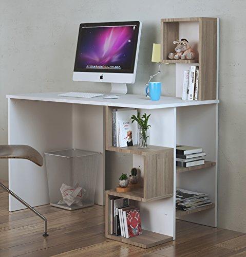 Deroni scrivania - scrivania per computer - scrivania ufficio - porta pc - tavolo per computer con scaffale ripiano (bianco / avola)