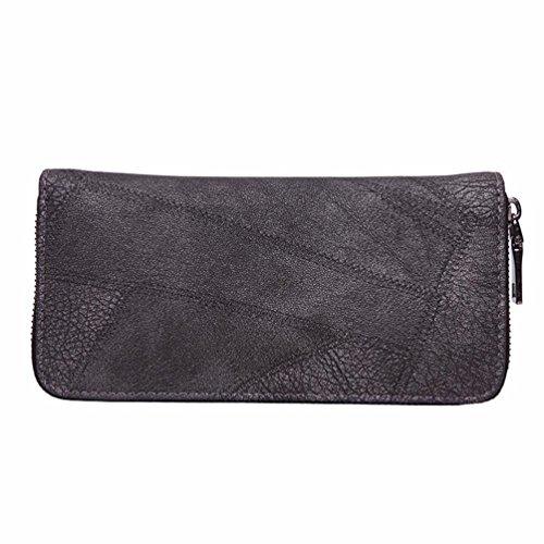 Tefamore Frauen Reißverschluss Münze Geldbörse lang Wallet Card Inhaber Lederhandtasche (Grau) Grau