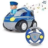 Tenlso Voiture de Police télécommande avec lumières et sirène, Cartoon Radio Rc Voiture pour bébé Smart Racer Voiture de Police (Cadeau pour Tout-Petit)