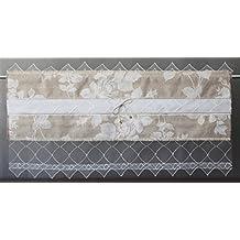 Cortina visillo Bistro cortina rústico Shabby Chic Vintage 35largo de rosas blancas para ventana 45cm. hasta 110cm., viscosa, champán, 110 x 35