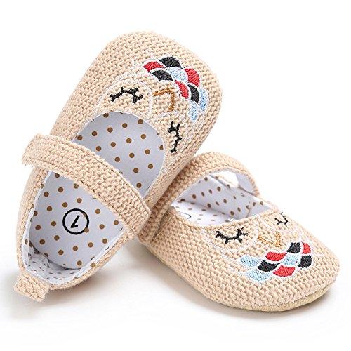 Lovely Baby First Walking Schuhe Anti-Rutsch-und Soft-Sole-Schuhe mit niedlichen Cartoon mit modischen gestrickten Flachs Vamp für 0-18 Monate Baby Girls (Khaki, L) Khaki