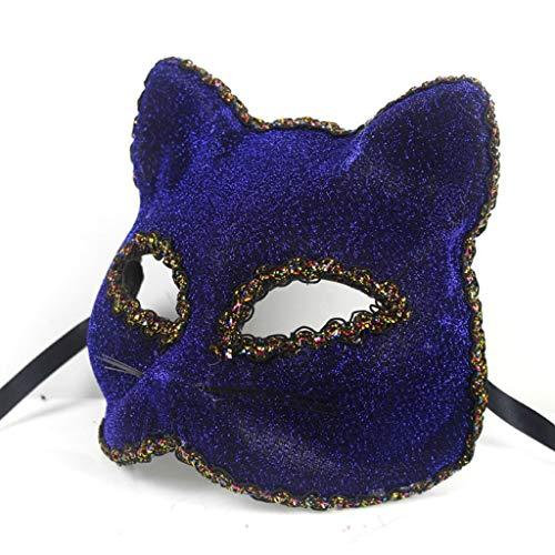 Liying Maske- Halloween-Maske Schöne Broadway Cat Face Painted Mask (Farbe : Blau, größe : One size)