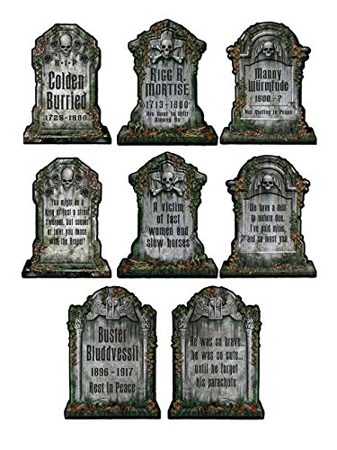 Gruselige Friedhof Grabsteine Skelett Halloween Party-Deko Set grau 30x41cm 4 Stück (Halloween Grabsteine)