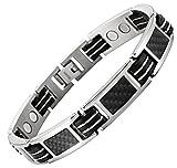 topt mag Bracelet titane homme femme magnetique 14 Aimant 3000g fibre de carbone noir