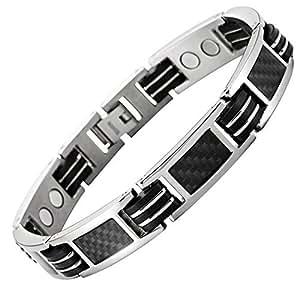 Bracelet titane homme femme magnetique 14 Aimant 3000g fibre de carbone noir