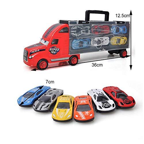 Beito Transporte Coche Portador camión catapulta Batalla contenedor camión Caja de Almacenamiento portátil con 6 Modelos de Coche de aleación para niños y niñas