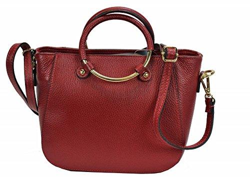 Bozana Bag rot Italy Leder Designer Ledertasche Umhängetasche Damen Handtasche Schultertasche Tasche Leder Neu (Prada Rot Leder)