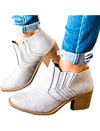 Botas de Tobillo de Las Mujeres Bloque Tacones Altos Retro Cuero Invierno  Zapatos Primavera otoño Fiesta 867ade893192