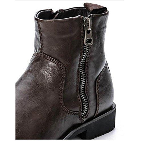 Größe Männer Baumwolle gepolsterte Schuhe Winter der neuen Männer warme braune Lederstiefel schwarz Motorradstiefel Brown