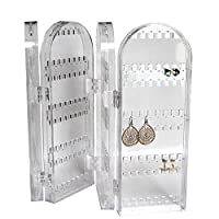Foldable Clear Transparent Acrylic Jewellery Organiser Display Cabinet by Kurtzy - Tall Storage Stand Displays Earrings, Necklaces and Bracelets - Holds 120 Pairs of Earrings - Natural Design