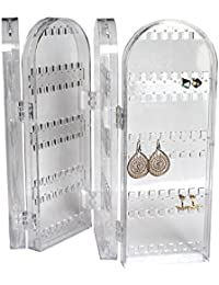 Kurtzy Foldable Clear Transparent Acrylic Jewellery Organiser Tall Storage Display Earrings, Necklaces Bracelets - Holds 120 Pairs Earrings