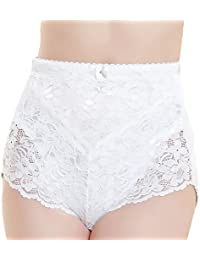 Unbranded Medium Control Briefs Ladies Lace Floral Knickers White Black Elastane Womens Size 12 14 16 18 20 22 24 26