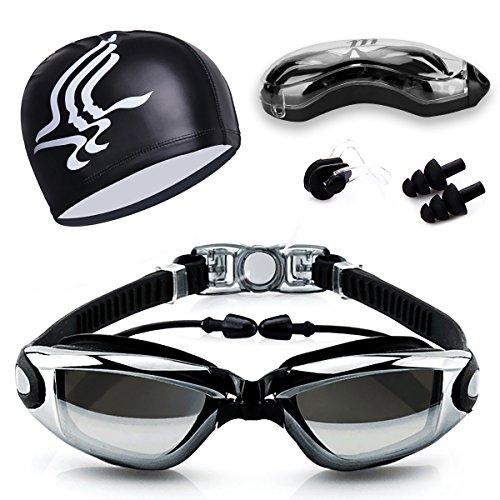 Schwimmbrille, Anti-Fog UV-Schutz beschichteter Linse kein Auslaufen Schwimmen Brillen, mit KOSTENLOSER Badekappe, Nase Clip, Ohrstöpsel, für Erwachsene, Kinder Männer und Frauen