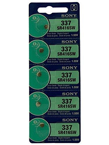 Estos son de alta calidad Sony reloj de la batería, son ideales para los relojes y otros artículos electrónicos pequeños. 1tira de 5pilas. potencia es 1,55V, óxido de plata, que se clasifican como un aspecto pilas de botón, que vienen en varios mo...