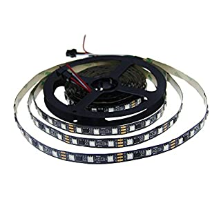ALITOVE 16.4ft WS2811 5050 RGB LED Strip 5M 300 SMD Digital Magic Color Flexible Pixel Rope Light Not Waterproof 12V Black PCB for Xmas home garden and commercial area Decoration